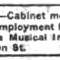 Niagara MIMC, WANTED Cabinet Men and Mounters (Tonawanda News, c1913).jpg.jpg