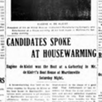 Candidates Speak at Boathouse, de Kleist photo, article (Tonawanda News, 1905-10-13).jpg