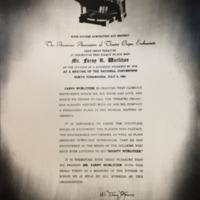 Plaque presented to Farny Wurlitzer by AATOE (1964-07-06).jpg