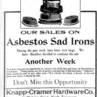 Asbestos-Lined Irons, Knapp-Cramer Hardware, 26 Webster, ad (Tonawanda Evening News, 1906-04-02).jpg