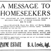A message to homeseekers, lots on Wheatfield, Payne, Miller, Stanley, ad(Tonawanda News, 1922-10-05).jpg