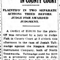 Verdicts Returned in County Court, Niagara MIMC for non-payment of wages, article (Lockport Union Sun and Journal, 1916-09-27).jpg
