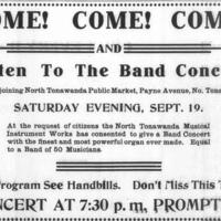 Listen to the Band Concert at Public Market, NTMIW organ, ad (Tonawanda News, 1908-09-18).jpg