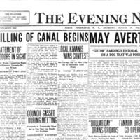 Filling of canal begins, article (Tonawanda News, 1923-08-16).jpg