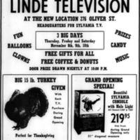 Linde Television 276 Oliver Grand Opening, ad (1956-11-07).jpg