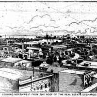 Looking northwest form the roof of the Real Estate Exchange, illustration (1893-08-05 Tonawanda News).jpg