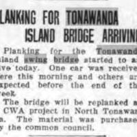 Planking for Tonawanda Island Bridge Arrives, CWA program, article (Tonawanda News,1933-12-27).jpg