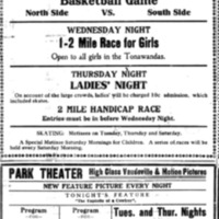 Park Roller Rink and theater, ad (Tonawanda News, 1910).png