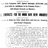 Big rolling mill and gas works to be built, Buffalo Bolt, article (Tonawanda News, 1915-07-24).jpg