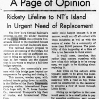 Rickety Lifeline to NTs Island in Urgent Need of Replacement, article (Tonawanda News, 1959-09-10).jpg