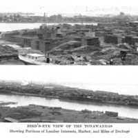 Birds-Eye View of the Tonawandas, Showing Portions of Lumber Interests, photo (Greater Buffalo NY Undustrial Commercial, 1914).png