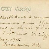Derrick boat to remove Tonawanda dam, postcard reverse (1918-01).jpg