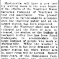 Inadequate, Martinsville trolley waiting room too small for Wurlitzer, article (Tonawanda News, 1910-09-07).jpg