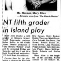 Mary Alice Demler as Helen Keller in Gilmore School Play, article photo (Tonawanda News 1975-04-30).jpg