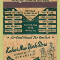 Khans New York Store, Tonawanda, matchbook, logotype (c1930).jpg