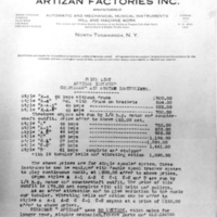 Artizan letterhead and price sheet (HST, 1929).jpg