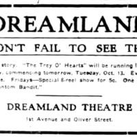 Dont fail to see this, Dreamland, ad (Tonawanda News, 1915-10-13).jpg