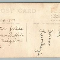 Biplane at Curtiss Aerodrome, Tonawanda, postcard (1917-08-20) reverse.jpg