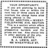 Payne Addition, Wheatfield-Payne section, ad (Tonawanda News, 1920-04-19).jpg