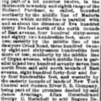 Land deeded to De Kleist on January 1st 1894, foreclosure sale notice (Tonawanda News, 1902-10-18).jpg
