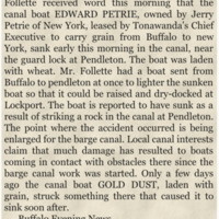 William H Follette canal boat Edward Petrie sinks near Pendleton, article (Buffalo News, 1908-11-19).png