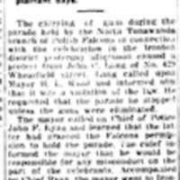 Protests men carrying guns, Ironton Polish Falcon parade, Dreamland, article (Tonawanda News, 1915-08-23).jpg