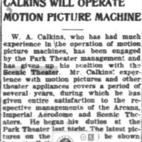 Calkins will operate motion picture machine for Park, leaves Scenic, articel (Tonawanda News, 1910-03-03).jpg
