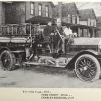 First Fire Truck in 1917, Fred Knight, Charles Doebler (From 100 Years, 1965).jpg