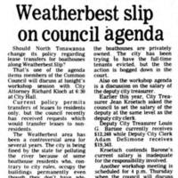 Weatherbest slip on council agenda, article (Tonawanda News, 1980-11-17).jpg
