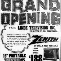 Linde Television, 272 Oliver, Grand Opening and merger with DandB, ad (1964-02-20).jpg