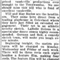 Vaudeville at Park Theater, Scenic Theater discontinues vaudeville, article (Tonawanda News, 1910-02-18).jpg