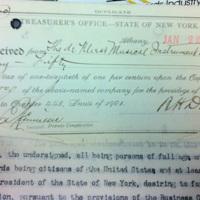 Organization fee receipt for de Kleist MIMC (Niagara County Clerk, 1902-01-02).jpg