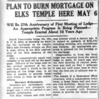Plan to Burn Mortgage on Elks Temple Here, article (Tonawanda News, 1930-05-05).jpg