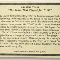 1897 NT Football Team placard, North Tonawanda Football Hall of Fame (2017).jpg
