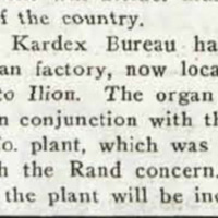 Rand Kardex Bureau moves organ factory, article (Music Trade Review, 1927-06-18).jpg