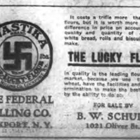 Swastika the Lucky Flour, Federal Milling Co., 1021 Oliver Street, illustrated ad (Tonawanda News, 1913).jpg