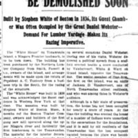 White House relic to be demolished soon, article (Tonawanda News, 1906-03-17).jpg