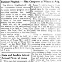 Black Hanna woods site of Boy Scout troop gathering, article (Tonawanda Evening News, 1938).png