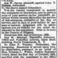 John F Fonner summoned to answer complaint, article (Tonawanda News, 1902-3).png