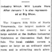 Local exhibit, Buffalo Industrial Exhibition, Buffalo Sled and Niagara Silk Mills, article (TEN, 1908-12-17).jpg