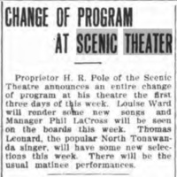 Change of program at Scenic Theater, article (Tonawanda News, 1910-05-09).jpg