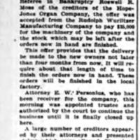Dispose of organ plant, article (Elmira Star-Gazette, 1910-05-07).jpg