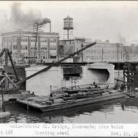 Main-Webster Street Bridge, Tonawanda; pier built. Erecting steel, photo (1919-11-10).jpg