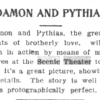 Damon and Pythias to be shown at Scenic, article (Tonawanda News, 1908-07-02).jpg