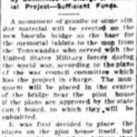 War tablets on monument, article (Tonawanda News, 1920-07-12).jpg