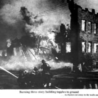 Burning building topples, Auto-Wheel fire, photo (Tonawanda News, 1972-05-30).jpg