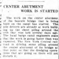 Center abutment work is started, article (Tonawanda News, 1918-08-01).jpg