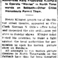 Would open Sunday show, Oliver Theater will make fight in courts, article (Tonawanda News, 1913-12-12).jpg