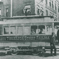 North Tonawanda Street Railroad trolley car outside Hotel Sheldon, photo (c1896).jpg