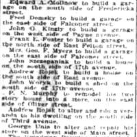 Andrew Rojek to build a house south of East, alter house on third, notice (Tonawanda News, 1917-09-27).jpg